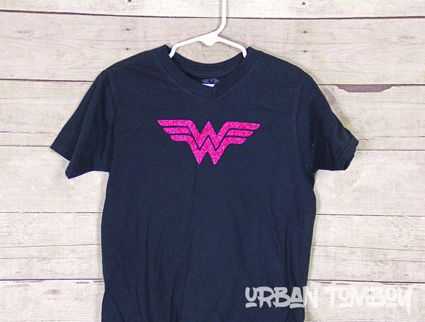 Wonder Woman Hot Pink Vinyl Short Sleeve T-Shirt