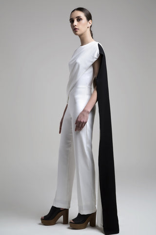 BENNCH black and white cape jumpsuit. Opulent, Minimalist art!