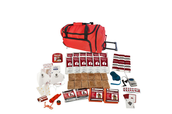 2 Person Survival Kit - RED Wheel Bag