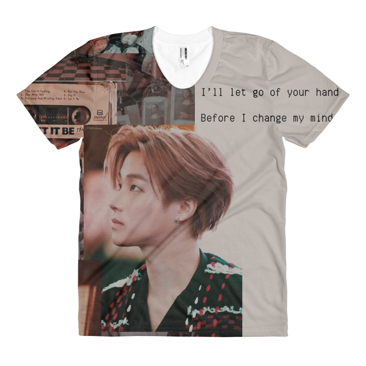 iKON Kim Jinhwan Brown Aesthetic Women Full Print T-Shirt
