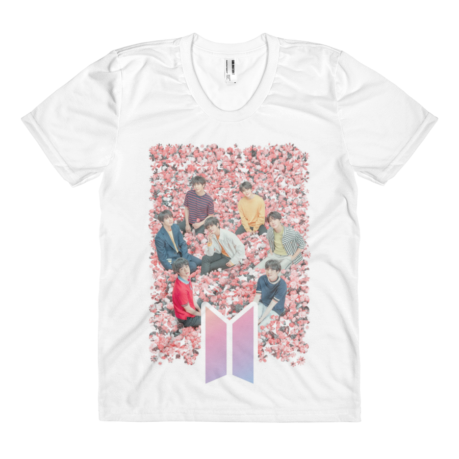 BTS Sitting On Flowers Dreamy Look Women Full Print T-Shirt