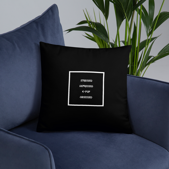 Stressed Depressed K-Pop Obsessed Throw Pillow