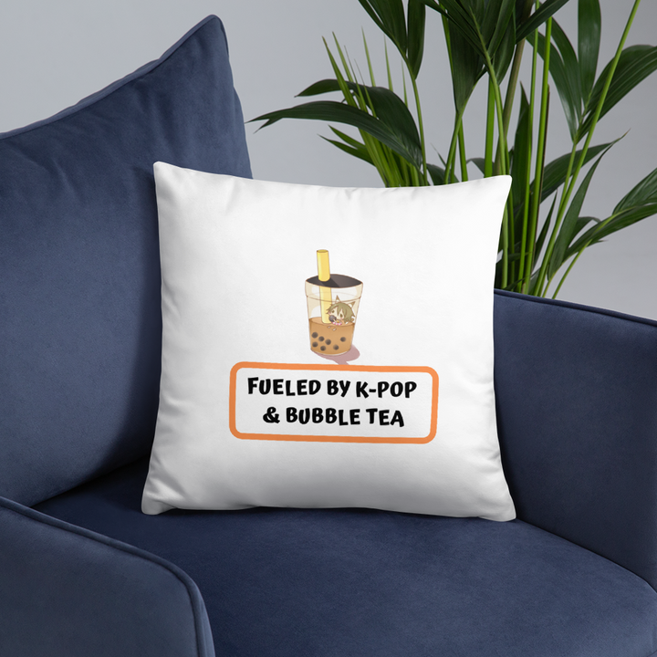 Fueled By K-Pop & Bubble Tea Throw Pillow