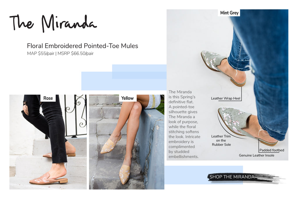 Mi.iM Miranda Floral Embroidered Pointed-Toe Flats