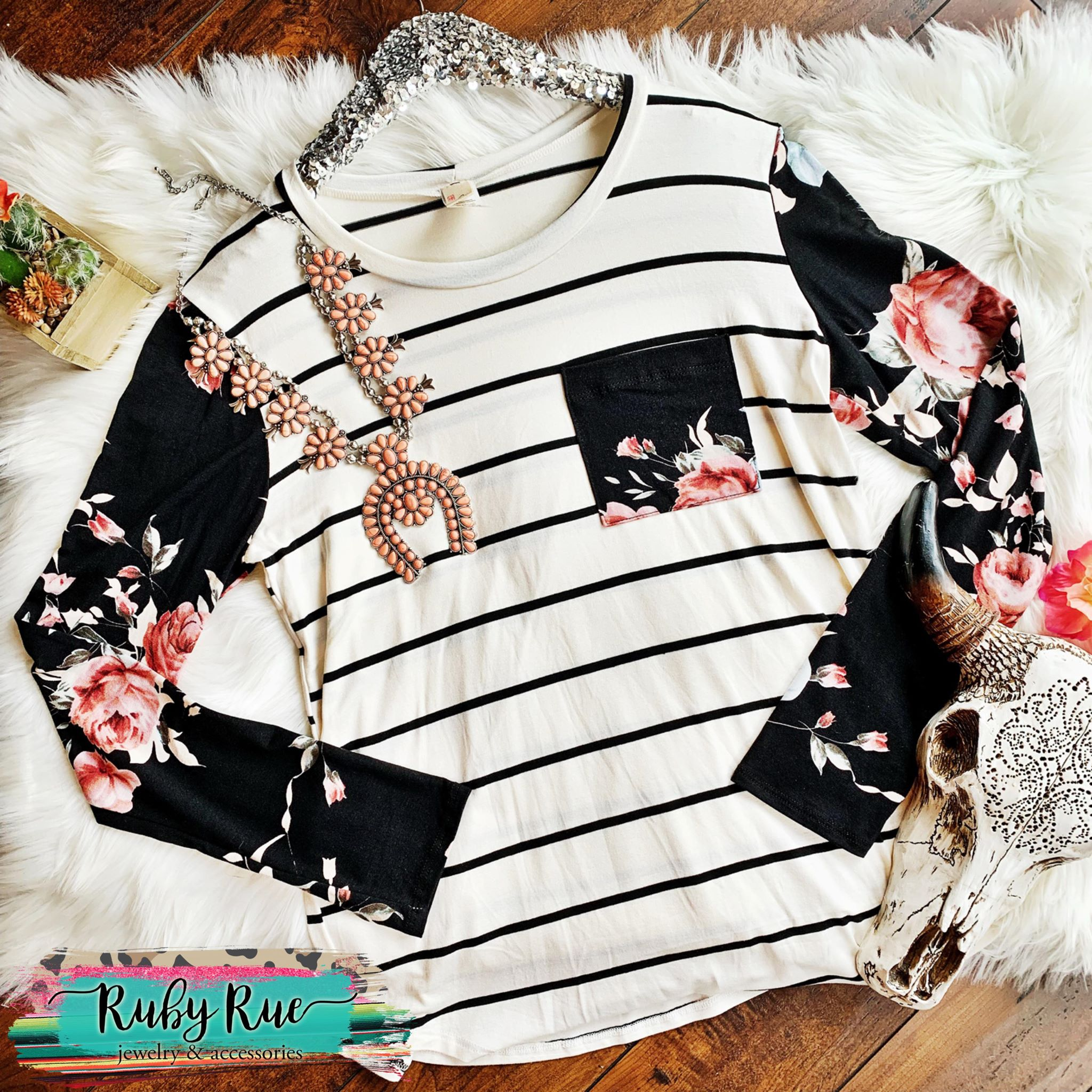Black + White Striped Floral Long Sleeve - Ruby Rue Jewelry & Accessories