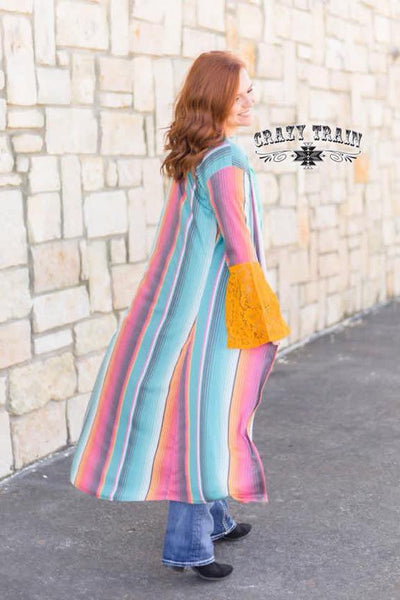 Serape Duster with Lace Sleeve Detail - Ruby Rue Jewelry & Accessories