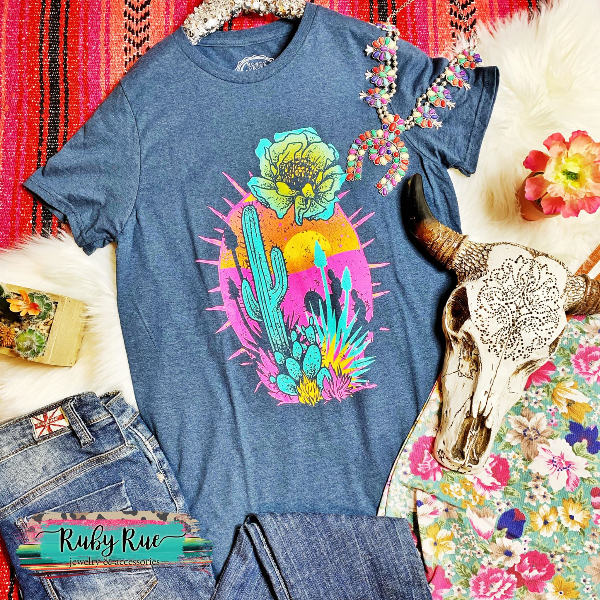Cactus Sunset Graphic Tee - Ruby Rue Jewelry & Accessories