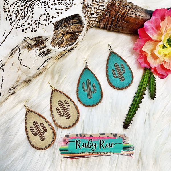 Leather Cactus Earrings - Ruby Rue Jewelry & Accessories