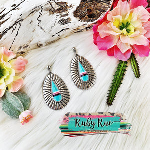 Mint Striped Earrings - Ruby Rue Jewelry & Accessories
