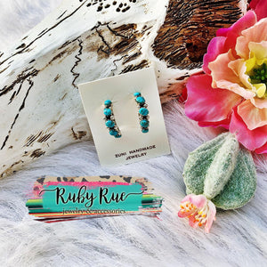 Authentic Turquoise Half Hoops - Ruby Rue Jewelry & Accessories