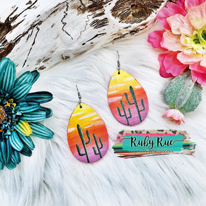 Hand-painted Wood Earrings - Ruby Rue Jewelry & Accessories