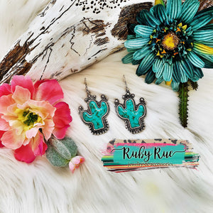 Turquoise Stone Cactus Earrings - Ruby Rue Jewelry & Accessories