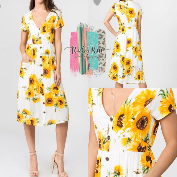 Callie Sunflower Dress - Ruby Rue Jewelry & Accessories