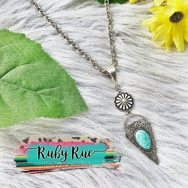 Silver & Turquoise Arrowhead Necklace - Ruby Rue Jewelry & Accessories