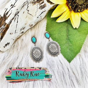 Antique silver concho Earrings - Ruby Rue Jewelry & Accessories