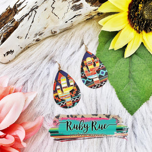 Aztec print cactus earrings - Ruby Rue Jewelry & Accessories