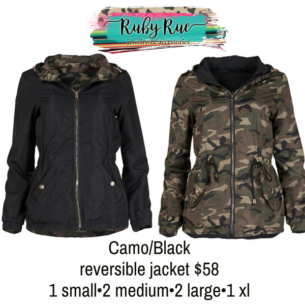 Camo Black Reversible Jacket - Ruby Rue Jewelry & Accessories