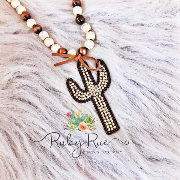 Large Rhinestone Cactus Necklace - Ruby Rue Jewelry & Accessories