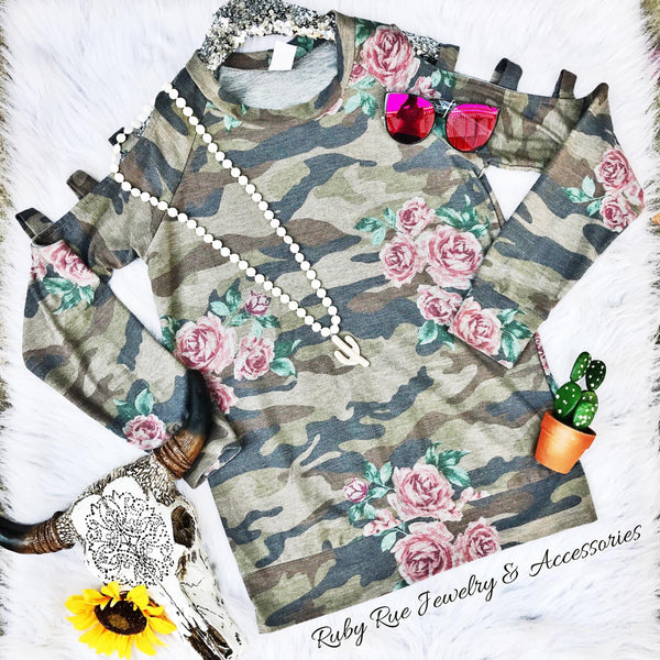 Floral Camo Long Sleeve - Ruby Rue Jewelry & Accessories