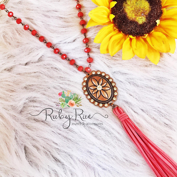 Coral & Copper Concho Necklace - Ruby Rue Jewelry & Accessories