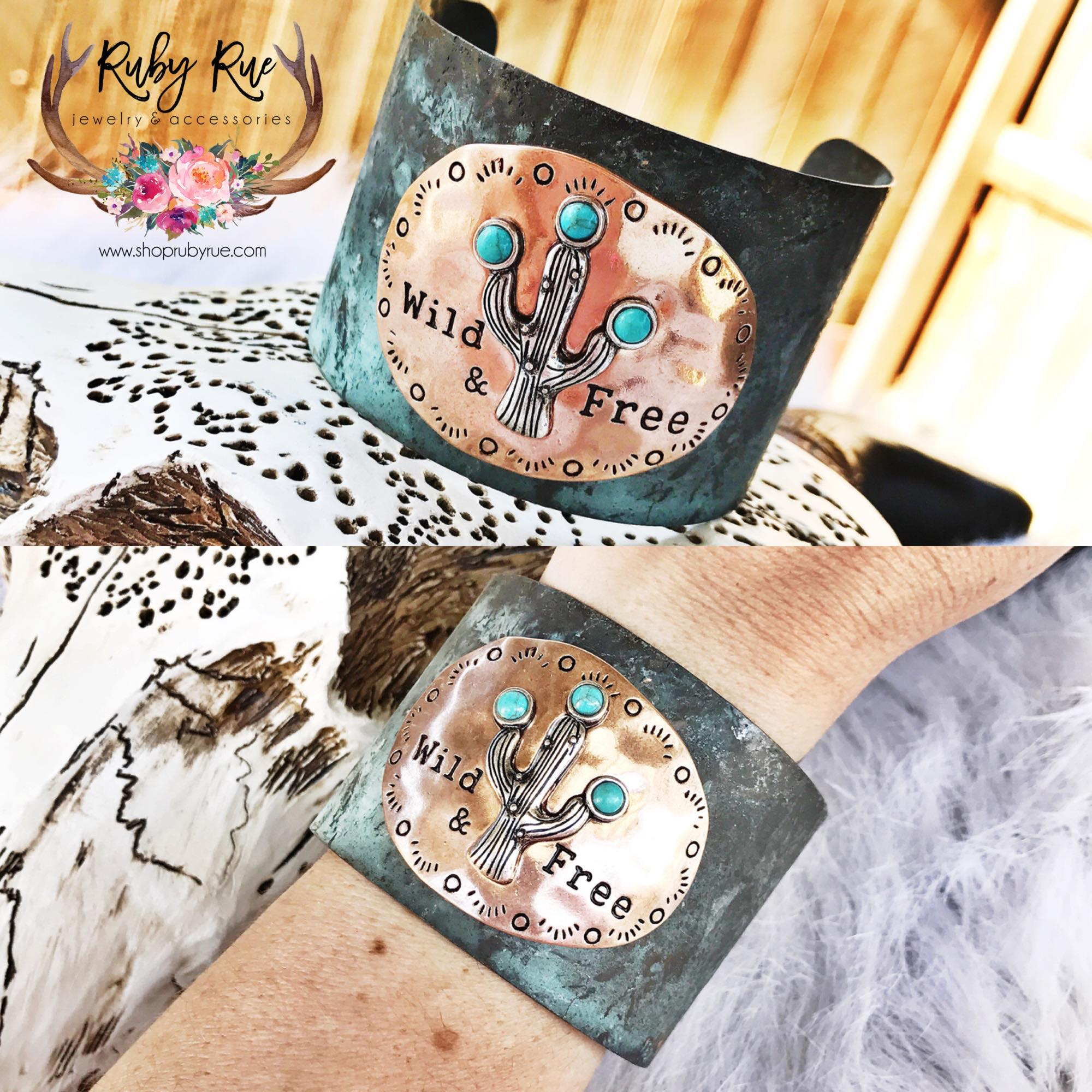 Wild & Free Cactus Cuff - Ruby Rue Jewelry & Accessories