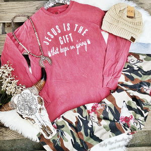 Jesus is the Gift Long Sleeve - Ruby Rue Jewelry & Accessories