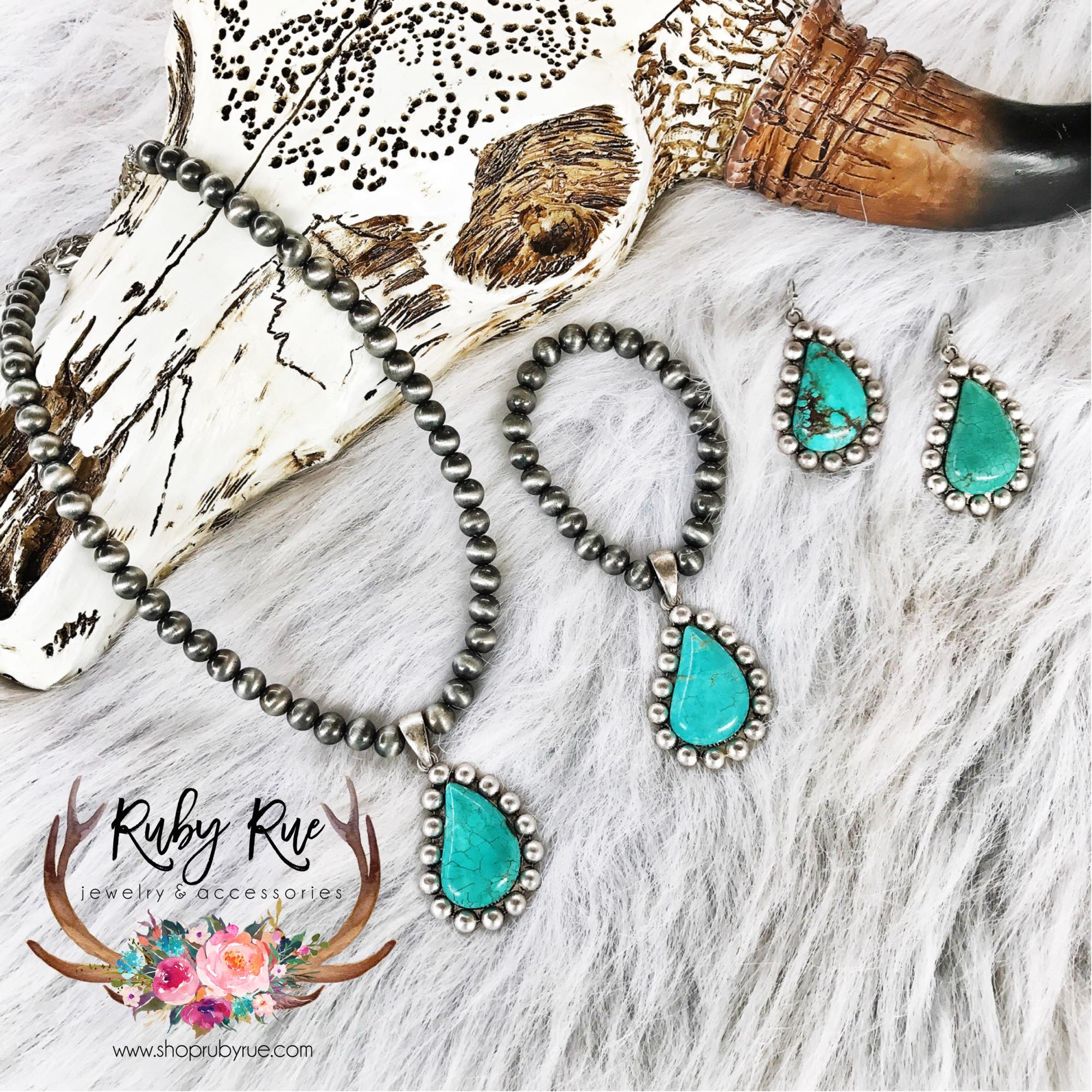 Large Turquoise Stone Bracelet - Ruby Rue Jewelry & Accessories