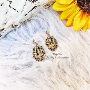 Golden Cactus Earrings - Ruby Rue Jewelry & Accessories