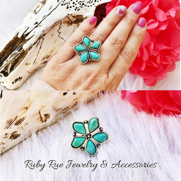 Large Turquoise Flower Ring - Ruby Rue Jewelry & Accessories