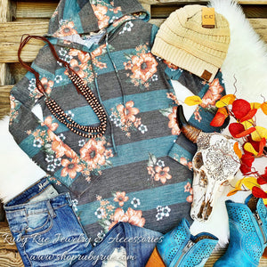 Grey & Blue Floral Hoodie - Ruby Rue Jewelry & Accessories