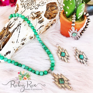 Mint Aztec Necklace - Ruby Rue Jewelry & Accessories