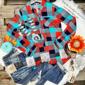 The Fiona Turquoise & Red Flannel - Ruby Rue Jewelry & Accessories