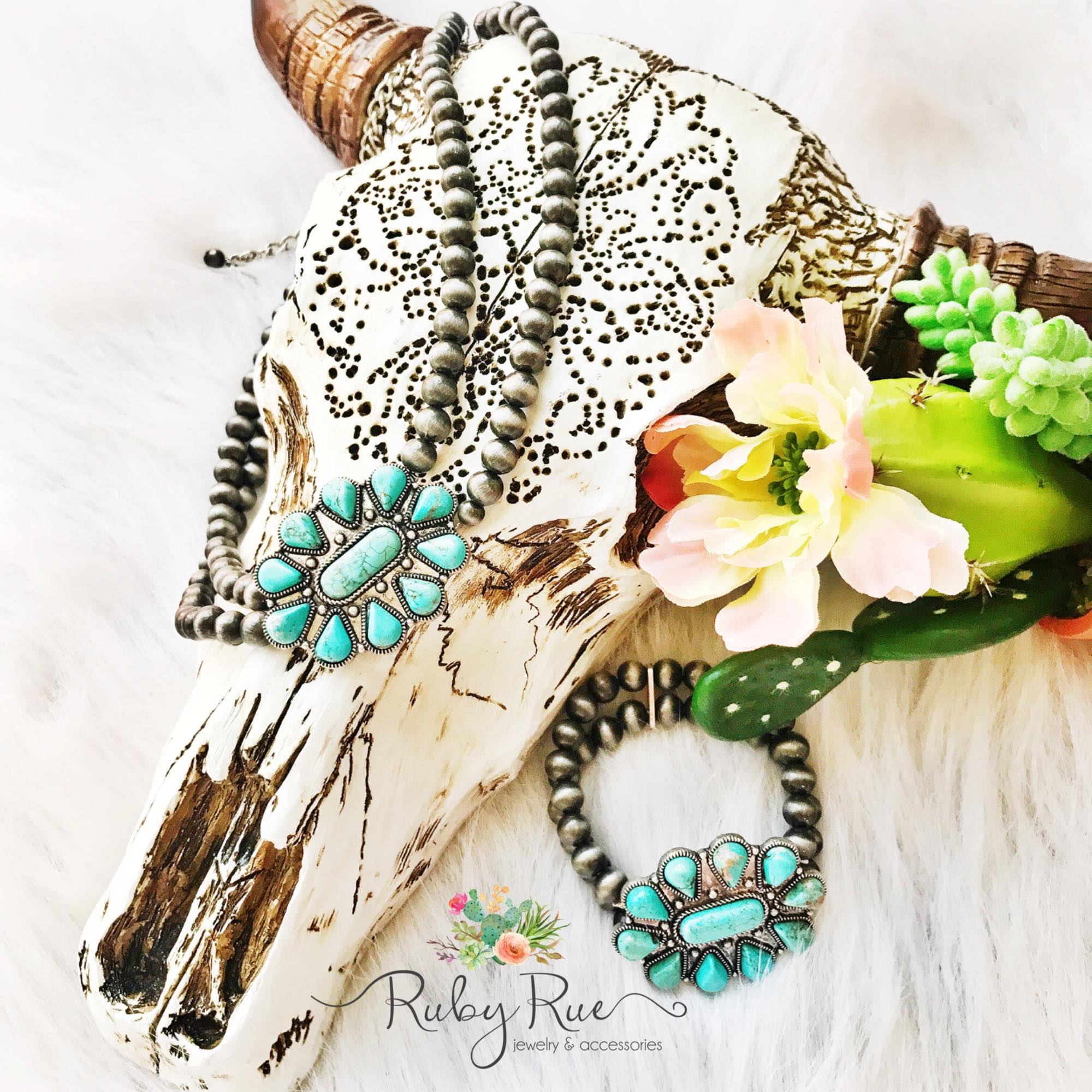 The Laynee Turquoise Bracelet - Ruby Rue Jewelry & Accessories