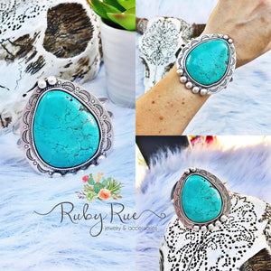 Large Turquoise Ornate Cuff - Ruby Rue Jewelry & Accessories