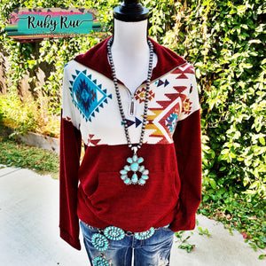 The Ashlynn Aztec Pullover - Ruby Rue Jewelry & Accessories