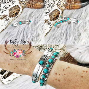 Arrow & Turquoise Dainty Cuff - Ruby Rue Jewelry & Accessories