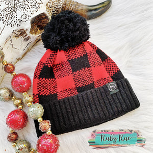 Buffalo Plaid Pom Pom Beanie - Ruby Rue Jewelry & Accessories