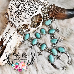 Turquoise & Silver Squash Set - Ruby Rue Jewelry & Accessories