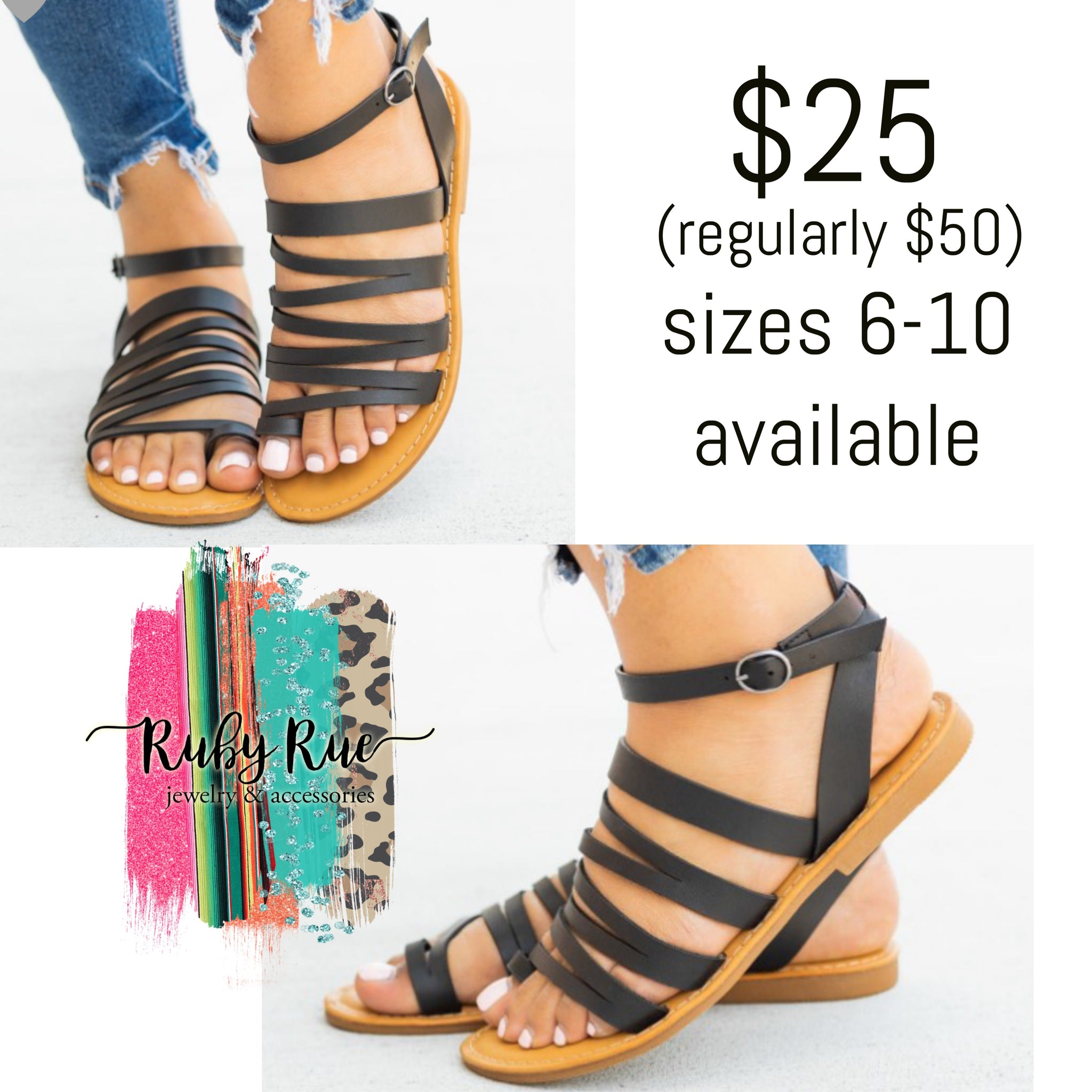 Black Strappy Sandals - Ruby Rue Jewelry & Accessories