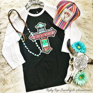 Serape Cross Raglan - Ruby Rue Jewelry & Accessories
