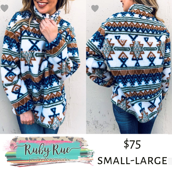 The Sadie Aztec Fleece Pullover - Ruby Rue Jewelry & Accessories