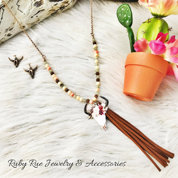 Dainty Bullhead Fringe Necklace - Ruby Rue Jewelry & Accessories