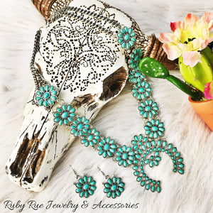 Turquoise Floral Inspired Squash Set - Ruby Rue Jewelry & Accessories