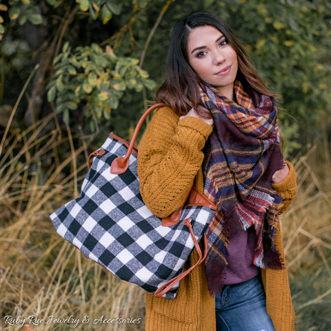 Buffalo Plaid Tote - Ruby Rue Jewelry & Accessories