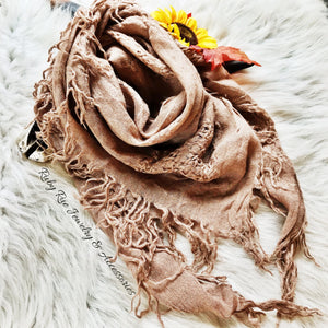 Taupe Blanket Scarf - Ruby Rue Jewelry & Accessories