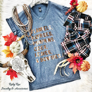 Blue & Rose Gold Foil Fall Tee - Ruby Rue Jewelry & Accessories