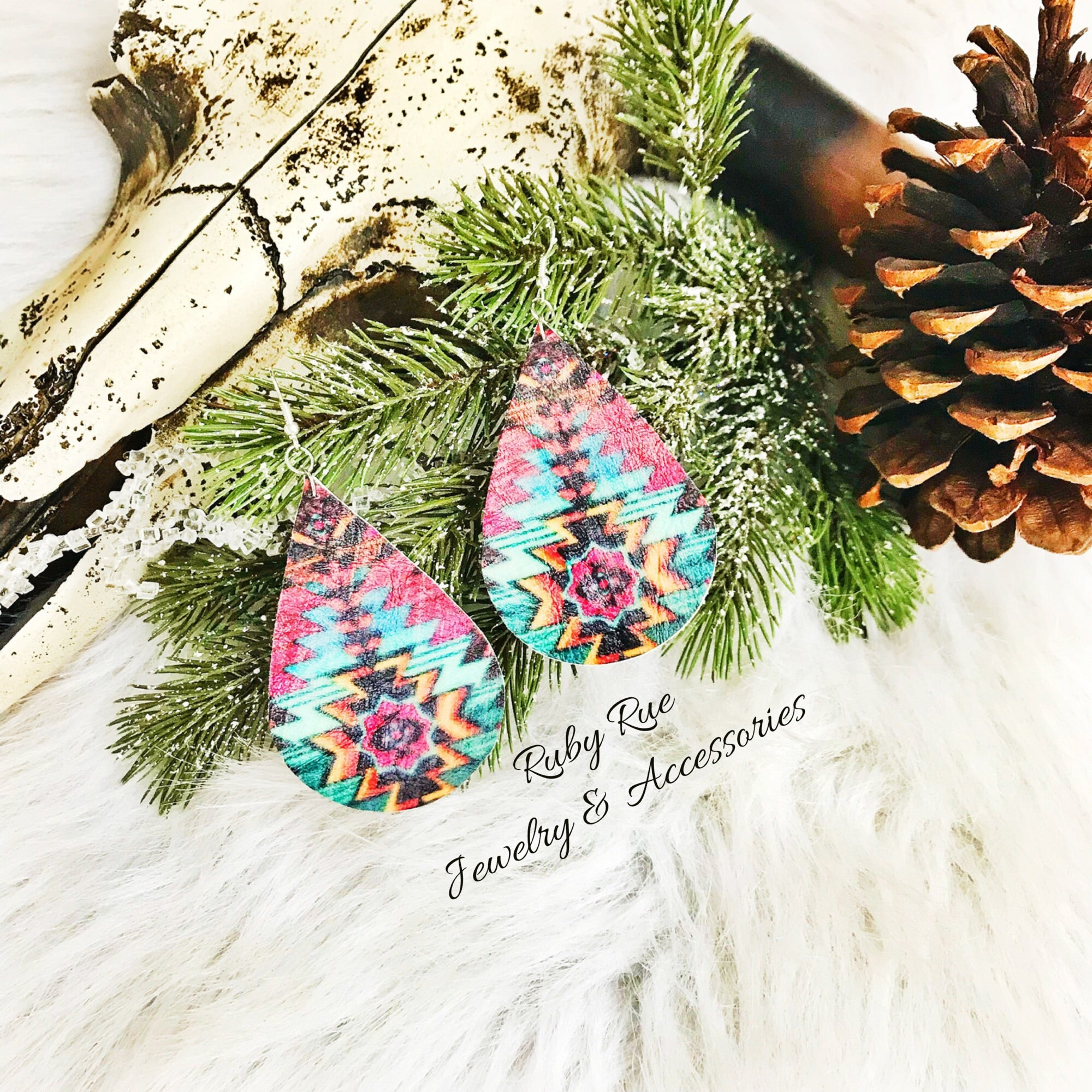 Aztec Leather Earrings - Ruby Rue Jewelry & Accessories