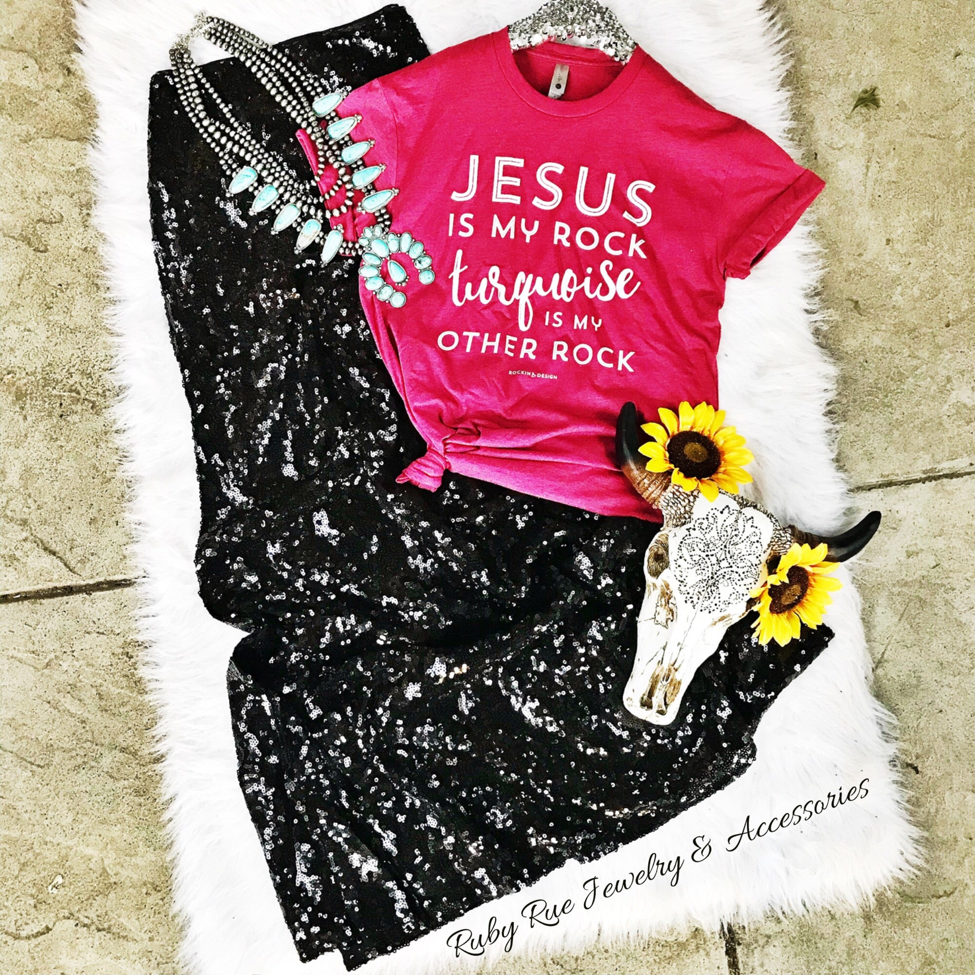 Jesus & Turquoise Are My Rock Tee - Ruby Rue Jewelry & Accessories