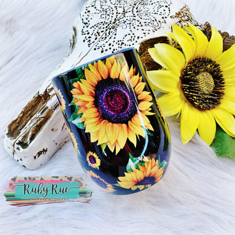 Sunflower Wine Tumbler - Ruby Rue Jewelry & Accessories