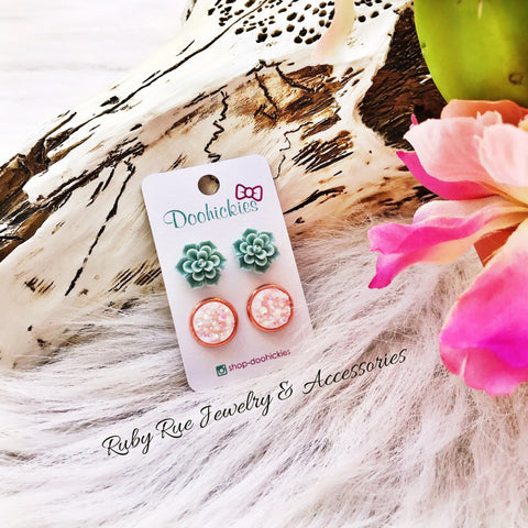 Baby Blue Floral Earring Set - Ruby Rue Jewelry & Accessories